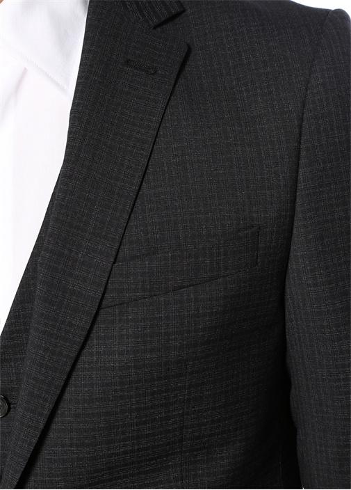 Antrasit Kareli Yelekli Takım Elbise