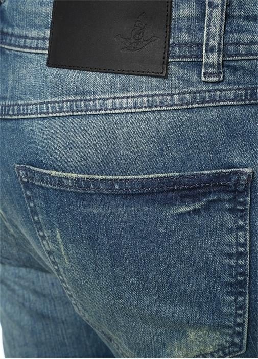 Slim Fit Mavi Yıpratmalı Jean Pantolon