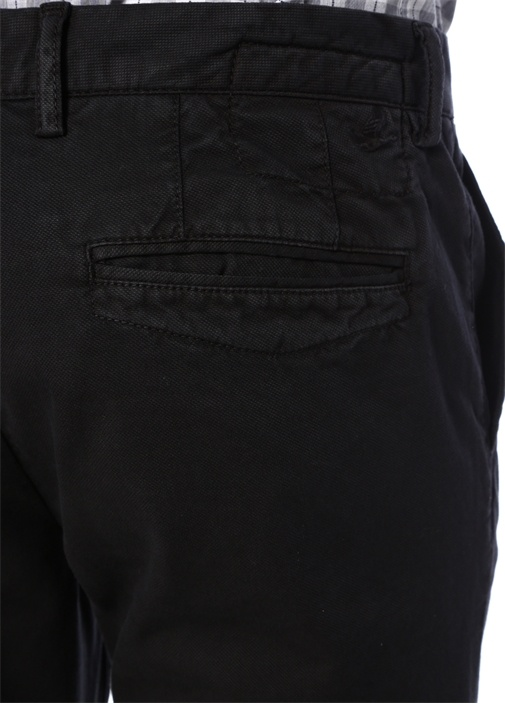 Slim Fit Siyah Panama Dokulu Chino Pantolon