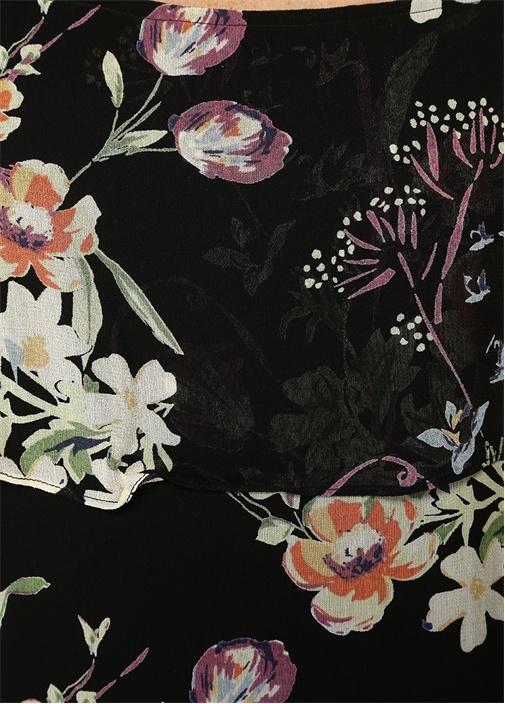 Siyah Kare Yaka İnce Askılı Çiçekli Maxi Elbise