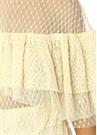 Sarı Fırfırlı Tül Detaylı Dantelli MaxiElbise