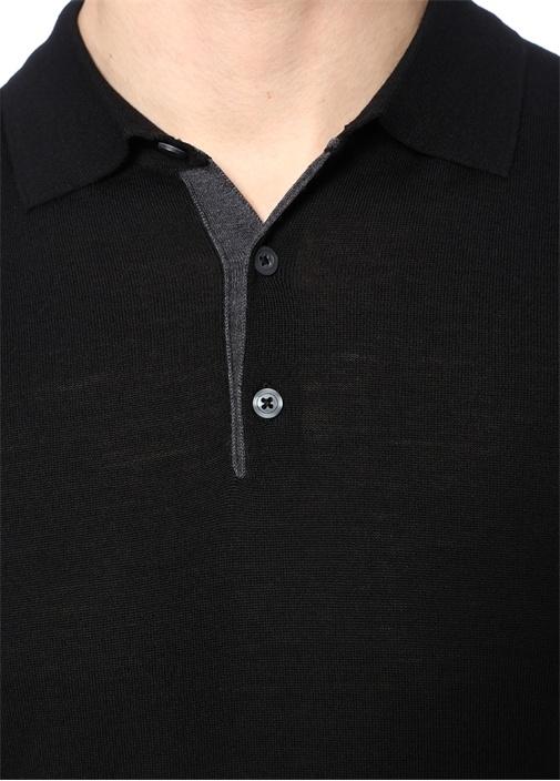 Siyah Polo Yaka Yün Kazak