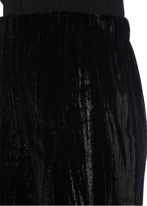 Siyah Yüksek Bel Simli Bol Crop Kadife Pantolon