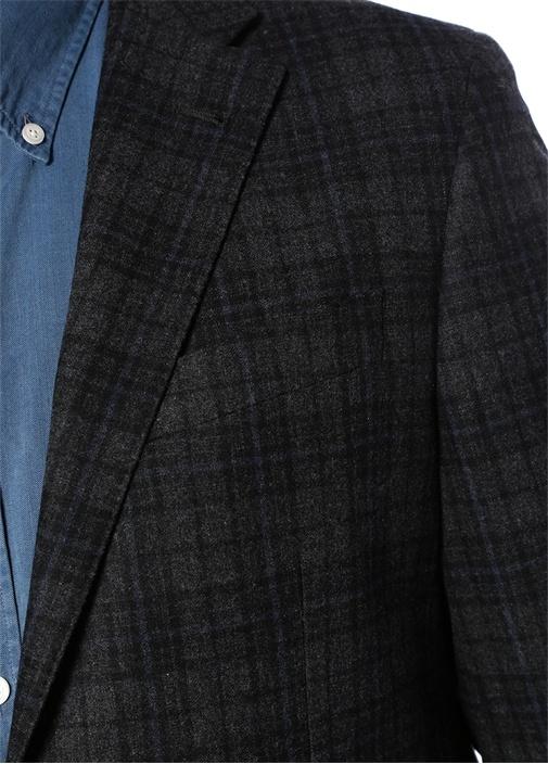 Drop 8 Lacivert Ekose Desenli Yün Soft Ceket