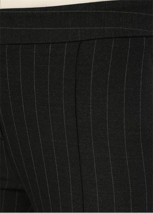 Füme Takım Çizgili Paçası Düğmeli Pantolon