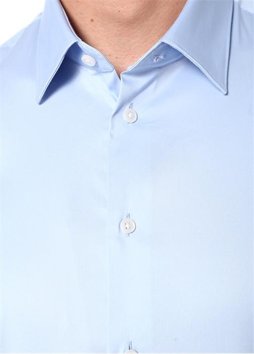 Slim Fit Mavi İngiliz Yaka Gömlek