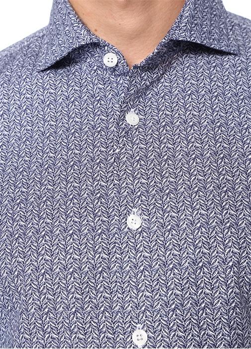 Custom Fit Lacivert Desenli Gömlek