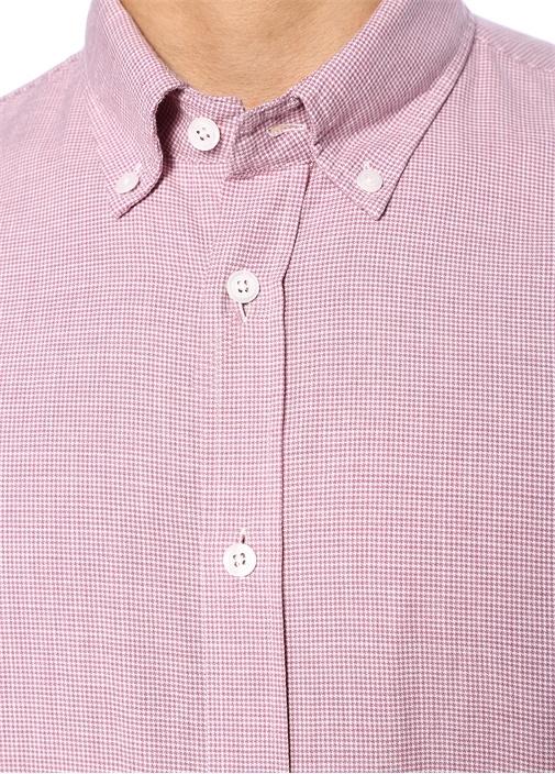 Custom Fit Kırmızı Yakası Düğmeli Desenli Gömlek