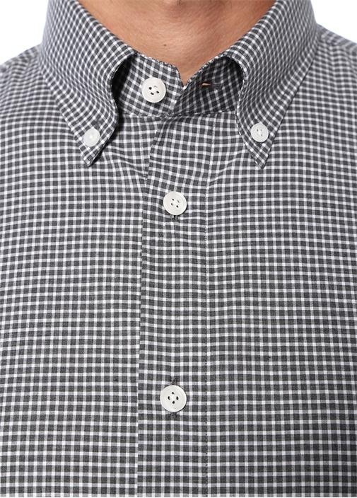 Custom Fit Gri Düğmeli Yaka Pötikareli Gömlek