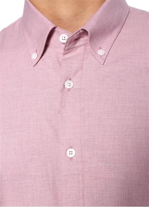 Custom Fit Pembe Yakası Düğmeli Gömlek