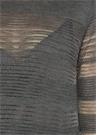 Gri Simli Çizgili Delikli Midi Triko Elbise
