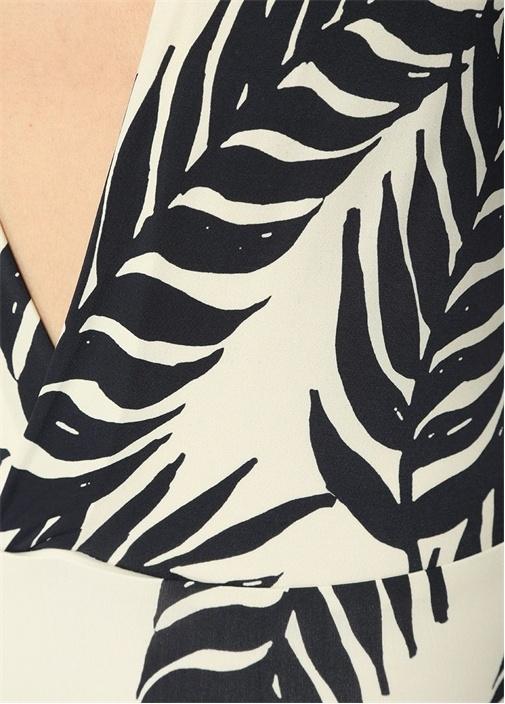 Siyah Beyaz V Yaka Yaprak Desenli Mayo
