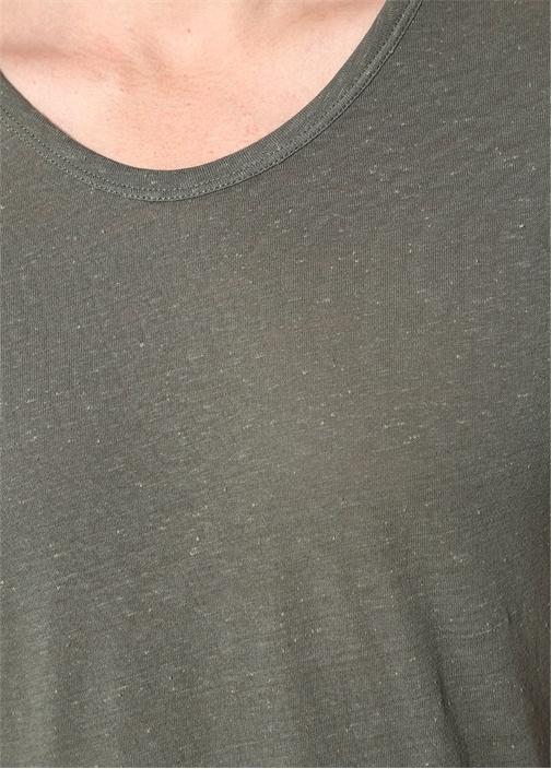 Haki Melanj Kayık Yaka Nopeli T-shirt