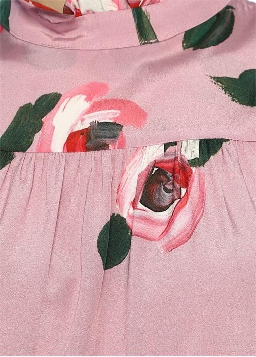 Pembe Dik Yaka Çiçekli Sırtı Düğmeli İpek Bluz
