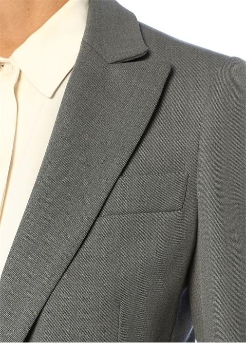 Gri Kırlangıç Yaka Tek Düğmeli Yün Ceket