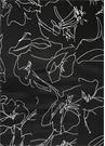 Siyah Çiçek Desenli Dantelli Midi İpek Etek