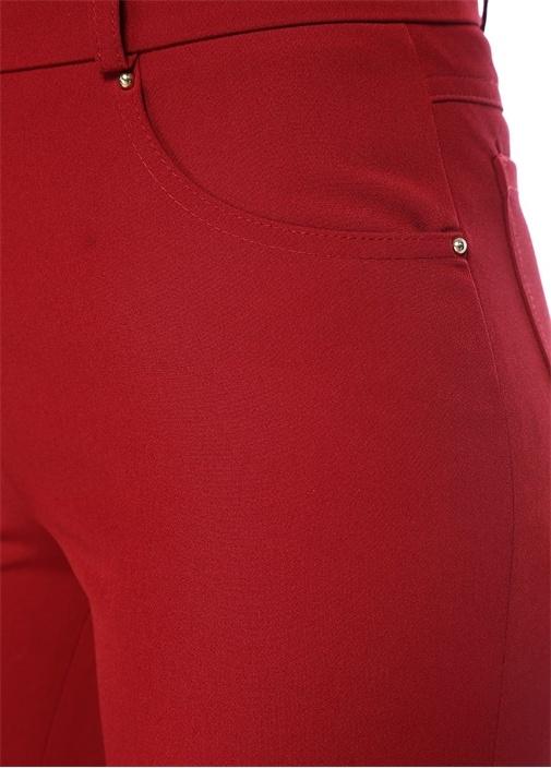 Bordo Yüksek Bel Streç Pantolon