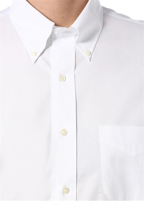 DS Pbt Beyaz Düğmeli Yaka Cepli Gömlek