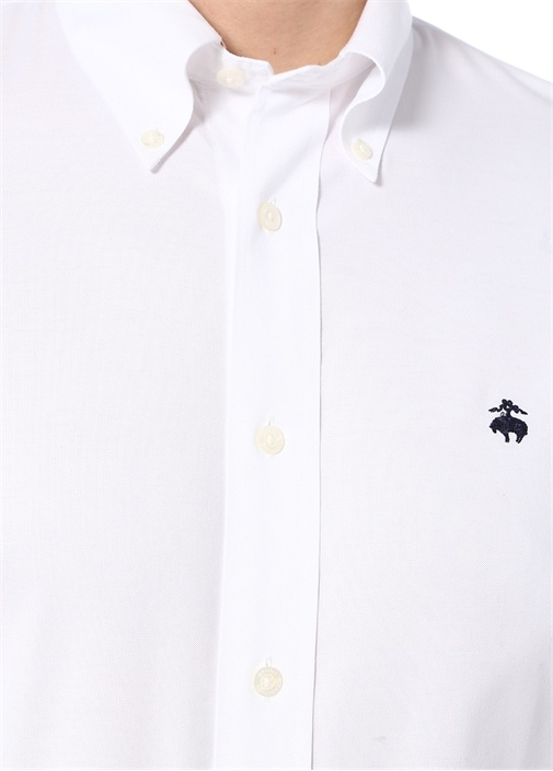 Beyaz Logo Nakışlı Gömlek
