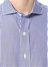 Lacivert Beyaz Çizgili Kesik Yaka Gömlek