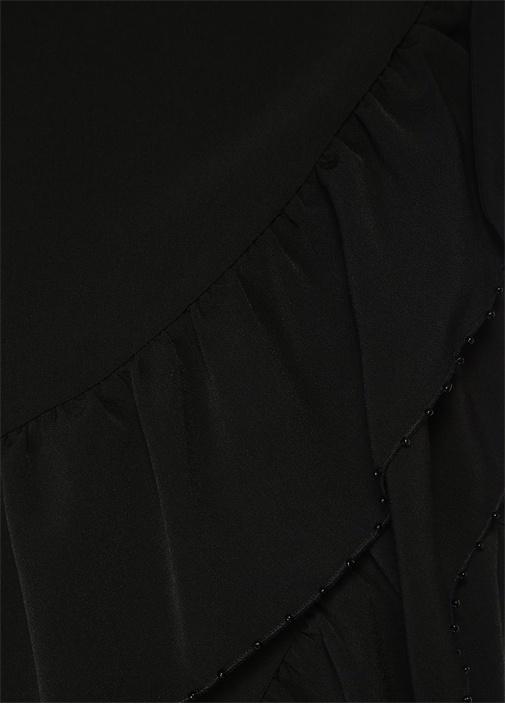 Siyah Boncuklu Volanlı Mini Anvelop Krep Elbise