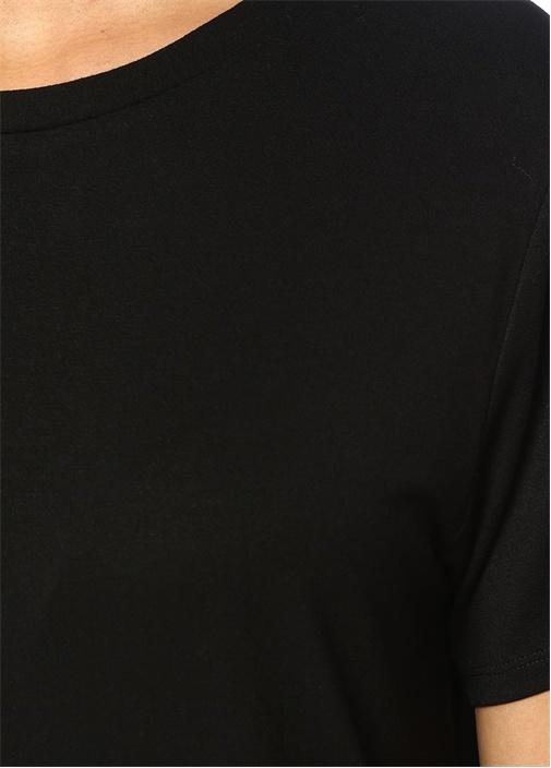Siyah Bisiklet Yaka Mini Elbise