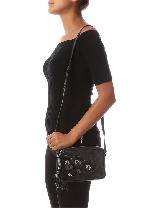 Siyah Taşlı Çiçekli Kadın Deri Çanta