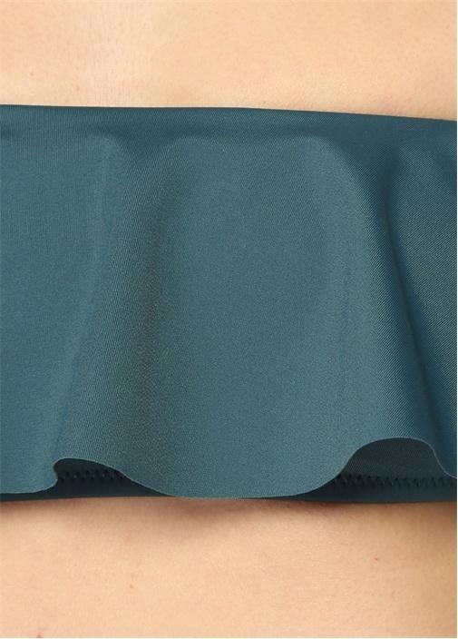 Sirolo Yeşil Straplez Volanlı Bikini Üstü