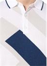 Beyaz Mavi Desenli Polo Yaka T-shirt