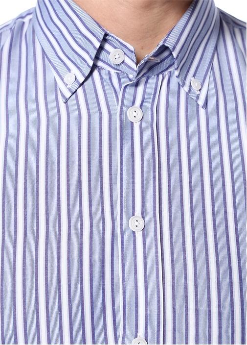 Slim Fit Mavi Çizgili Yakası Düğmeli Gömlek