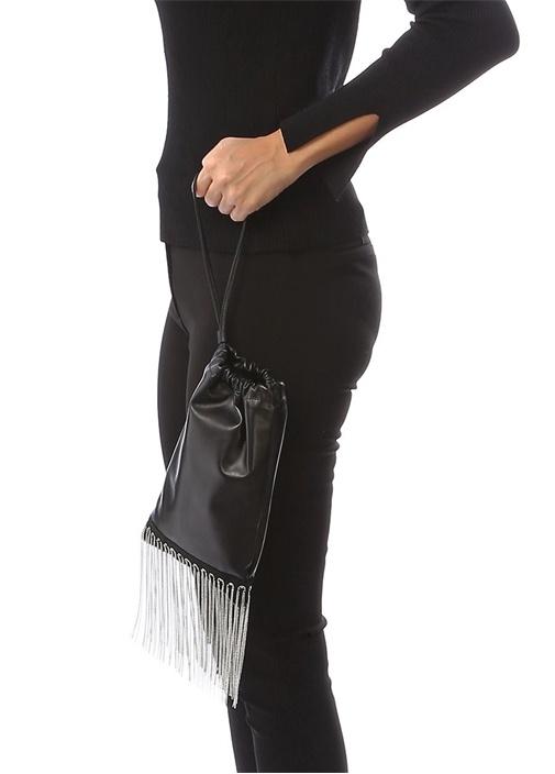 Siyah Zincir Püsküllü Kadın Deri Büzgülü Çanta