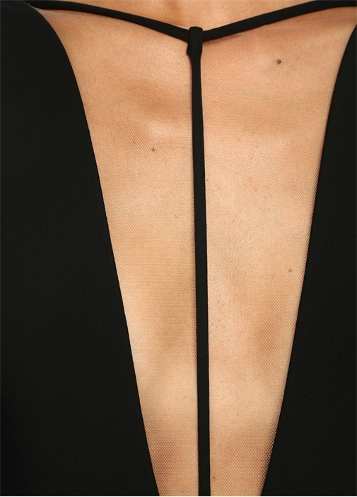 Rianne Siyah Derin V Yaka İpli Maksi Krep Elbise
