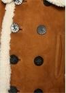 Kamel Polo Yaka Çift Sıra Düğmeli Süet Kaban