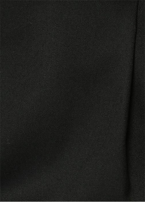 Siyah Normal Bel Pileli Mini Yün Etek