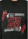 Twin Guns Siyah Baskılı Sweatshirt