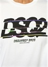 Beyaz Logo Baskılı Düşük Kollu T-shirt