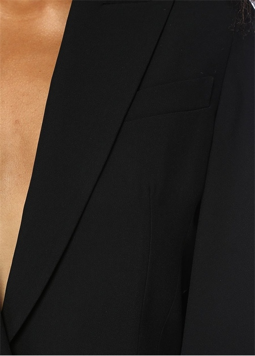 Siyah Kırlangıç Yaka Kolları Volanlı Ceket