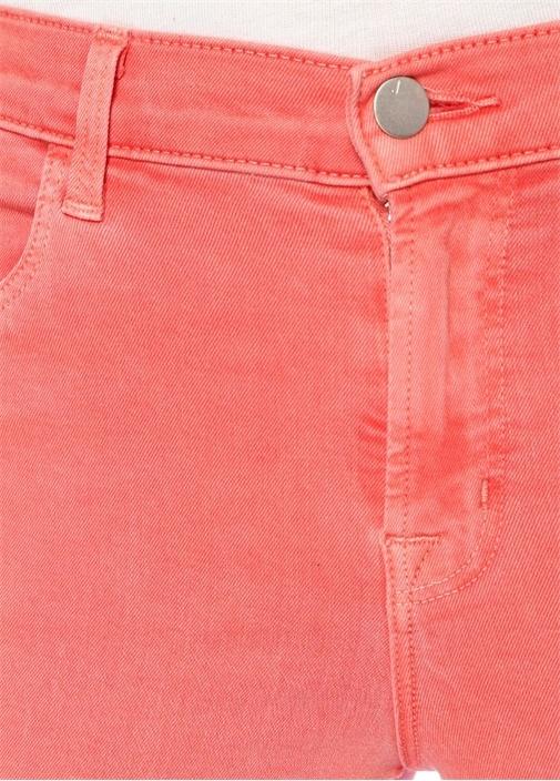 Alana Pembe Yüksek Bel Delikli Crop Jean Pantolon