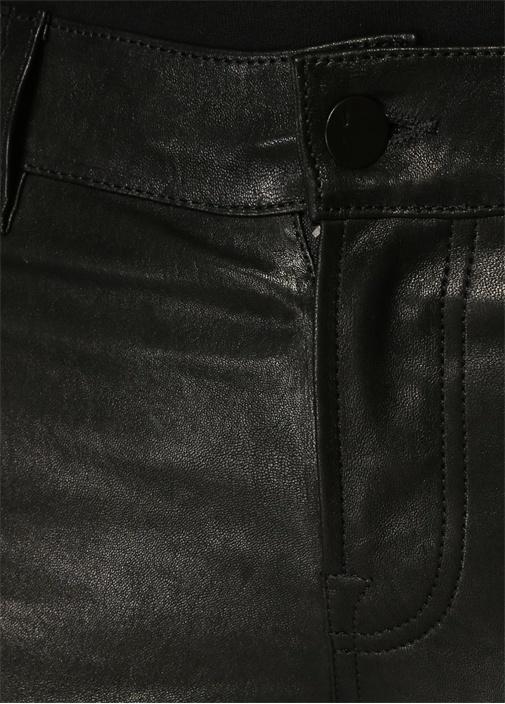 L8001 Siyah Normal Bel Skinny Deri Pantolon