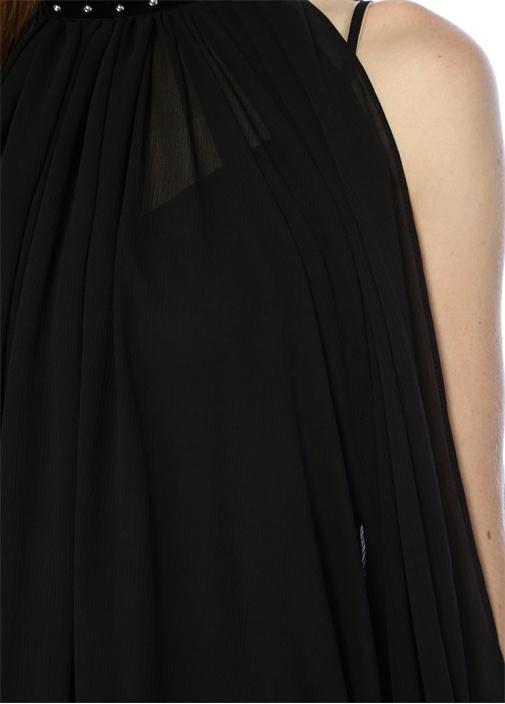 Siyah Dik Yaka Kadife Şeritli Kolları Kesik Bluz