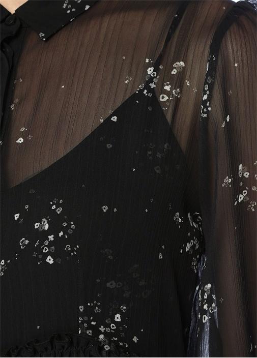 Siyah Çiçek Desenli Mini Tül Elbise