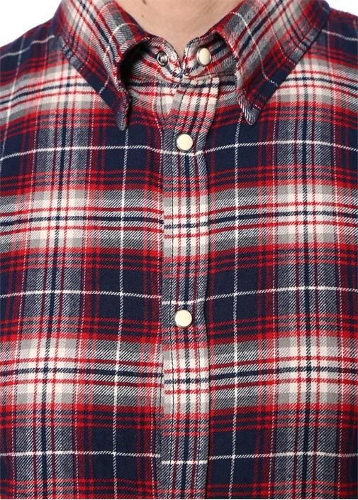 Lacivert Kırmızı Ekose Desenli İngiliz Yaka Gömlek