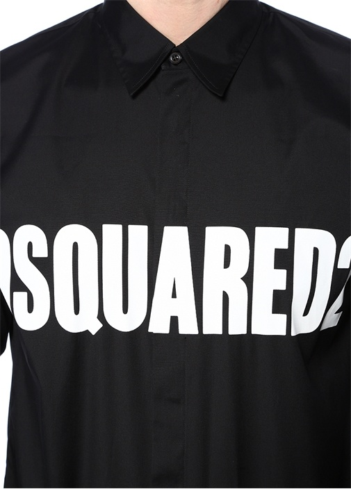 Siyah Klasik Yaka Logo Baskılı Gömlek