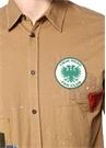 Kamel Klasik Yaka Fırça Darbeli Gömlek