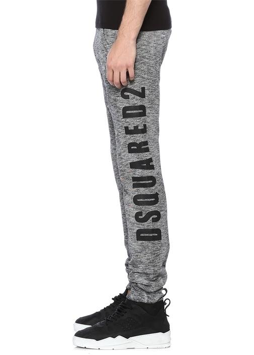 Gri Melanj Logo Baskılı Ağ Detaylı Pantolon