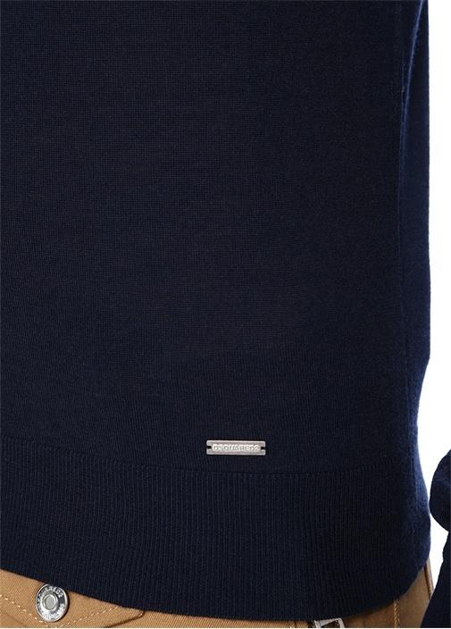 Lacivert Logolu Yün Triko Kazak