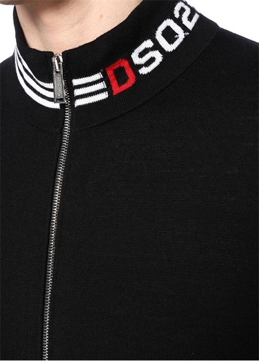 Siyah Dik Yaka Fermuarlı Logo Jakarlı Yün Triko