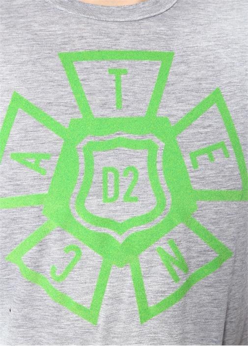 Gri Melanj Baskılı Yıpratma Detaylı Basic T-shirt
