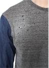 Gri Melanj Denim Detaylı Logolu Uzun Kollu T-shirt