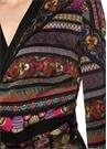 Siyah Çiçekli Asimetrik Fırfırlı Midi Elbise